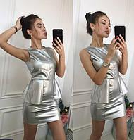 Мини платье баска стрейч кожа стальное 42-44,44-46.