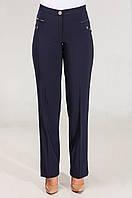 Утепленные прямые женские брюки синего цвета