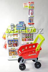 Детская витрина игрушечный магазин прилавок набор супермаркет для детей с тележкой Магазинчик