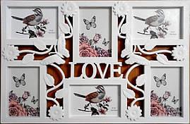 Мультирамка Бабочка Love на 6 фотографий белая