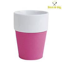 Кружка Silikon - 200 мл, Бело/розовая (Merxteam) керамика