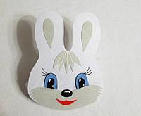 Карнавальная маска белый зайчик на голову на резиночке