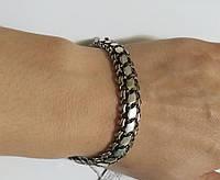 Срібний чоловічий браслет Бісмарк з чорнінням 18,5 см, фото 1