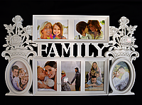 Мультирамка FAMILY на 7 фотографий белая