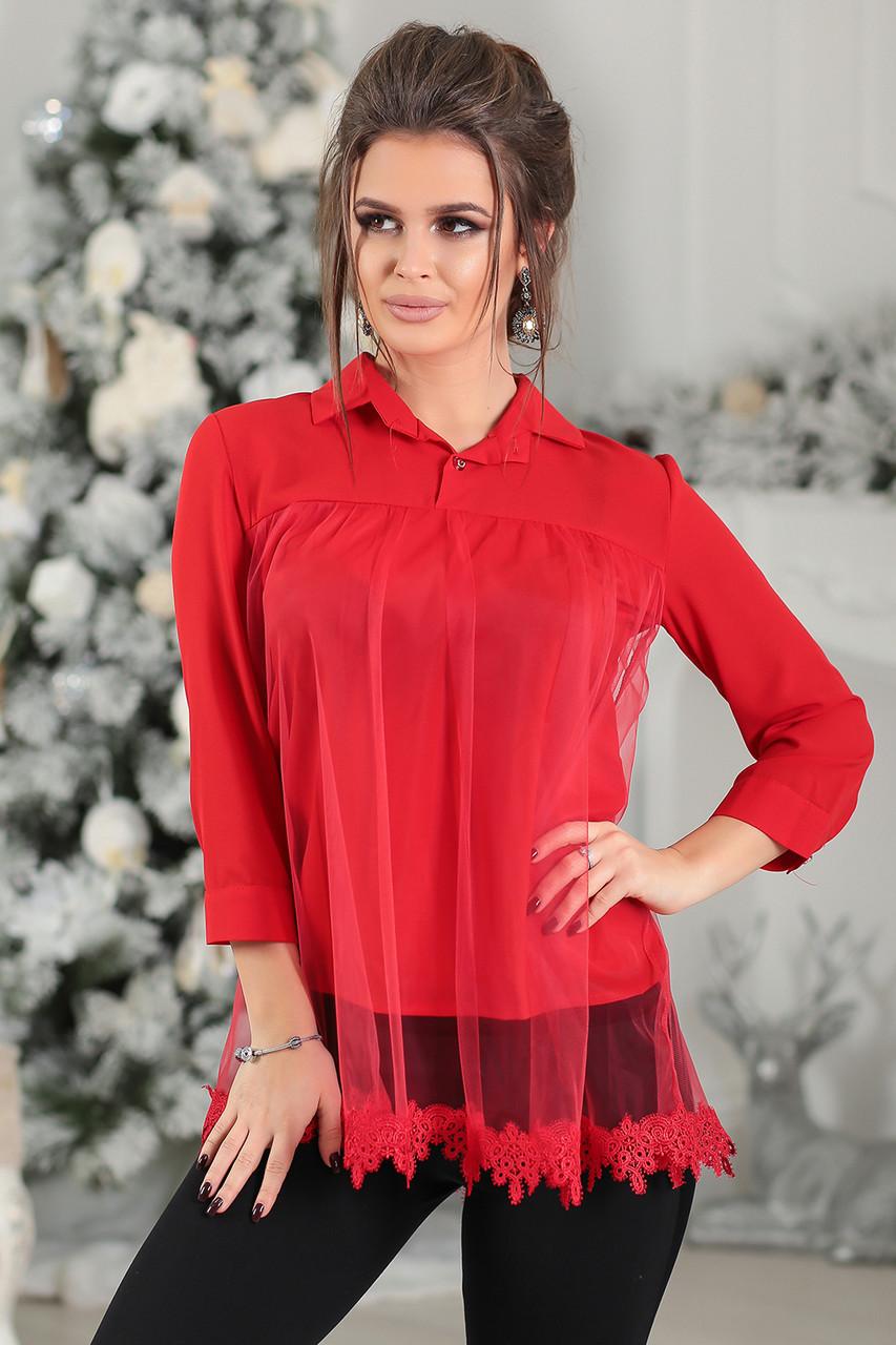 Деловая красная Блузка Диана