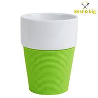 Кружка Silikon - 200 мл, Бело/зеленая (Merxteam) керамика