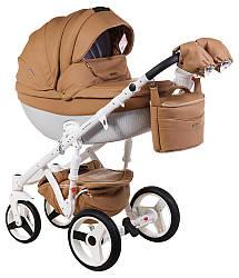 Детская коляска универсальная 2 в 1 Adamex Monte Deluxe Carbon кожа 100% 56S-B (Адамекс Монте)