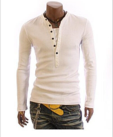Мужской свитшот, свитер L, XL, XXL белый на пуговицах