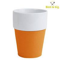 Кружка Silikon - 200 мл, Бело/оранжевая (Merxteam) керамика