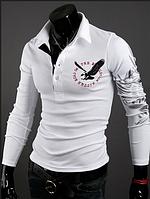 Мужская кофта, свитер белого цвета с принтом летящего орла на спине