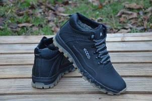 Ботинки зимние Еcco (черные) (Реплика)
