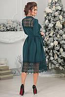 Платье миди с кружевом макраме  в красивых расцветках  4044/1, фото 1