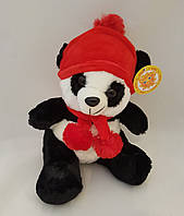 Панда мягкая качественная плюшевая игрушка стильная приятная на ощюпь качественная в шапке с галстуком