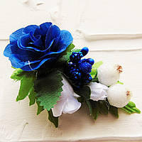 Заколка Трояндочки (синя)
