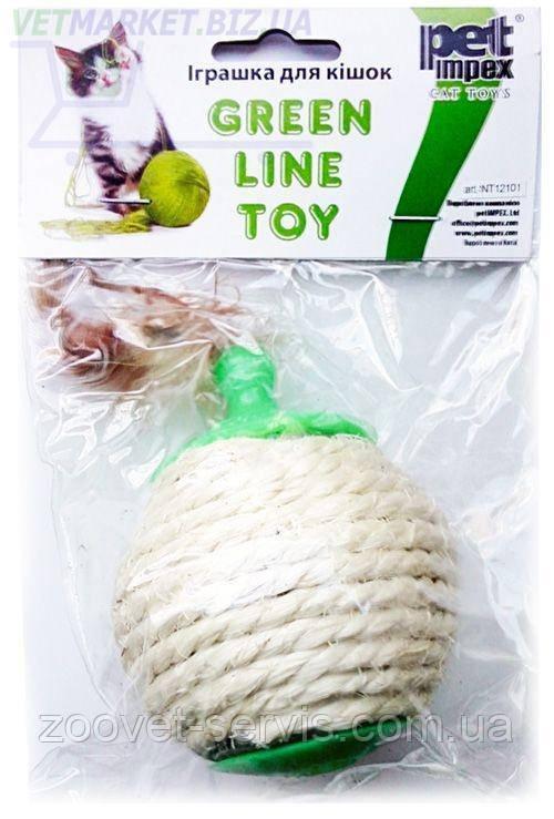Игрушка для кошек Мячик сизалевый с перьями для корма
