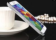 Бампер металлический с кристаллами для Samsung S5, фото 1