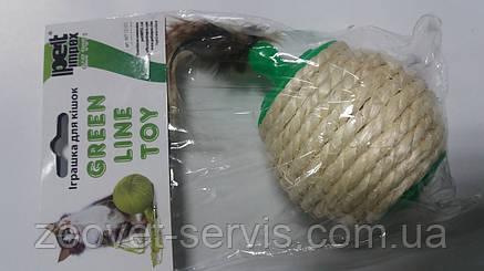 Игрушка для кошек Мячик сизалевый с перьями для корма, фото 2