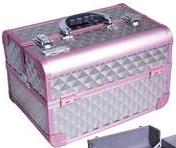 """Профессиональный алюминиевый кейс для косметики """"Exclusive Series Diamonds"""" серебристый с розовым ромбик"""