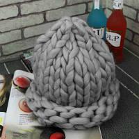 Женская шапка из крупной вязки Хельсинки серая