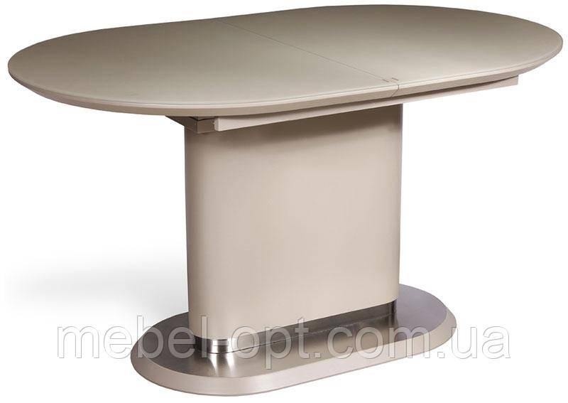 Стол обеденный ТМ-56 капучино, столешница МДФ с каленым стеклом 140-180х80х76Н