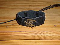 Кожаный браслет на руку иероглиф ГОД СОБАКИ, ручная работа, медицинская сталь, золочение.