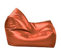 Оранжевое бескаркасное кресло-лежак из кож зама Зевс