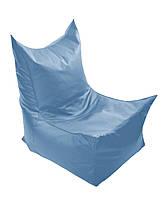 Голубое бескаркасное кресло трон из кож зама Зевс