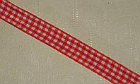 Лента тканная в клетку красная 1,2 см *90 см