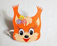 Карнавальная маска белочка на голову на резиночке