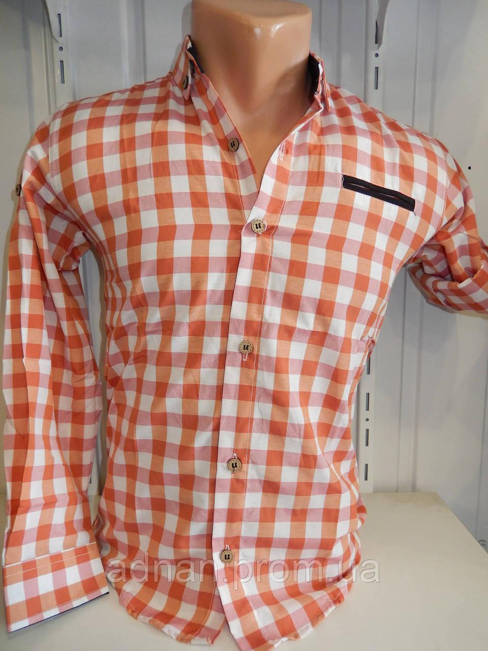 Рубашка детская YG длиный-короткий рукав, клетка средняя 004/ купить школьную рубашку оптом