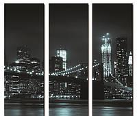"Модульнаякартина из 3-х частей""Бруклинский мост-сумерки"" размер 60х60 см"
