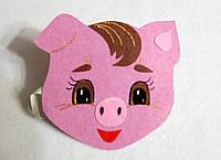 Карнавальная маска хрюша  на голову на резиночке