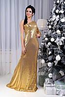 Ассиметричное вечернее платье в пол из пайеток 42-46 р.
