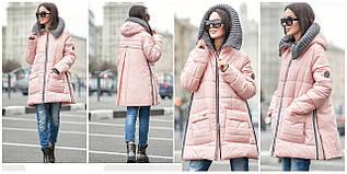 Стильная молодежная куртка с вязанным капюшоном