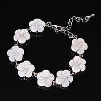 Браслет цветы с жемчуженой Перламутр застежка карабин