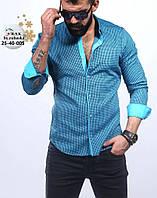 Стильная мужская рубашка голубого цвета в мелкую клетку, фото 1