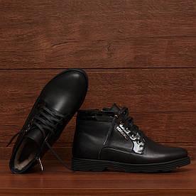 71411| Женские ботинки зимние на низком ходу и шнуровке. Черные из натуральной и лаковой кожи