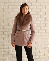 Женское пальто с меховым воротом шалью 46-54рр