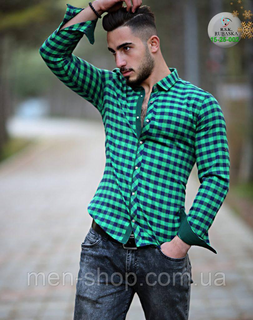 f48f08b4235 Зеленая мужская рубашка в клетку - Men-Shop в Харькове