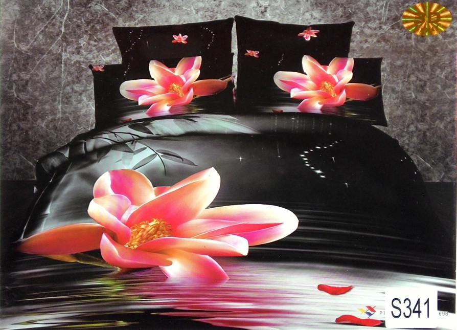 Сатиновое постельное белье евро 3D ELWAY S341