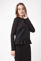 Элегантный женский блузон с рюшей, черного цвета, фото 1