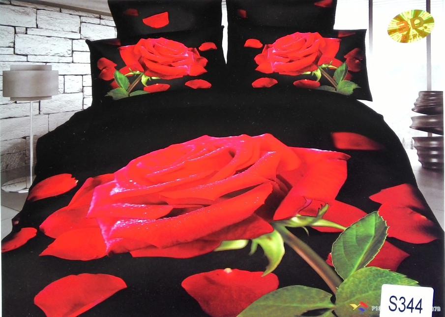 Сатиновое постельное белье евро 3D ELWAY S344