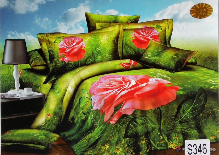 Сатиновое постельное белье евро 3D ELWAY S346