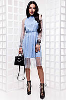 Красивое воздушное платье с бусинами 3 цвета
