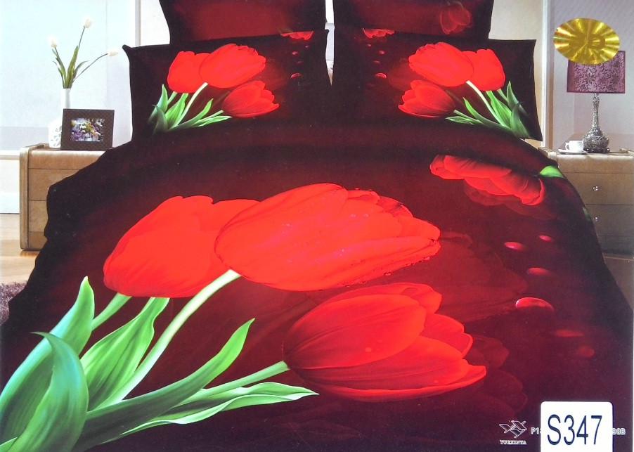 Сатиновое постельное белье евро 3D ELWAY S347