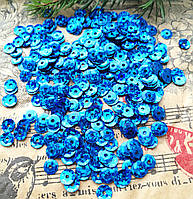 Пайетки, круглые, синие с голограммой 8 мм, 10 гр/уп