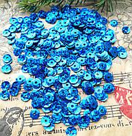 Паєтки, круглі, сині з голограмою 6 мм, 10 г/уп