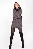Объемный модный свитер свободного силуэта, черно-розовый меланж, фото 1