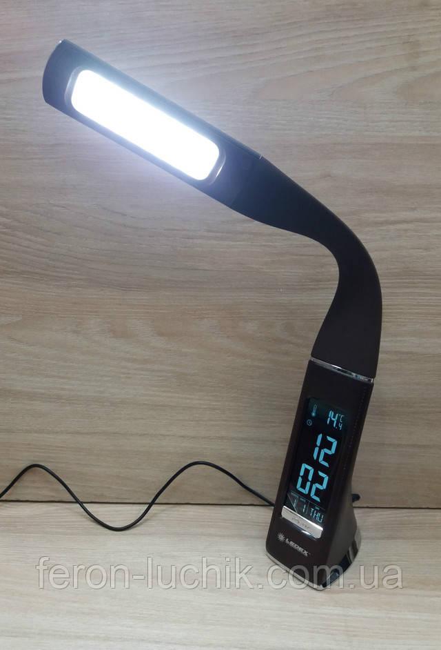Led лампа настольная гибкая с часами - 7W 5000К белый свет