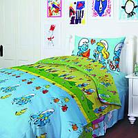 Комплект постельного белья Смурфики, хлопок, детский